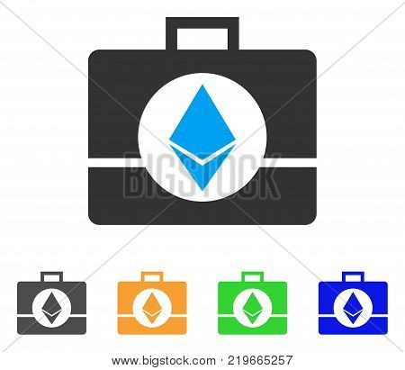 Ethereum Crystal Case icon. Vector illustration style is a flat iconic ethereum crystal case symbol with grey, green, blue, yellow color variants. Designed for web and software interfaces.