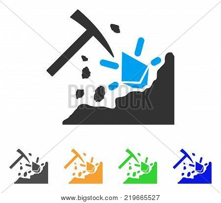Ethereum Mining Hammer icon. Vector illustration style is a flat iconic ethereum mining hammer symbol with grey, green, blue, yellow color versions. Designed for web and software interfaces.