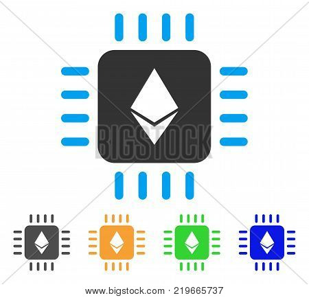 Ethereum Processor Chip icon. Vector illustration style is a flat iconic ethereum processor chip symbol with grey, green, blue, yellow color variants. Designed for web and software interfaces.
