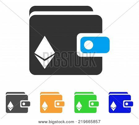 Ethereum Purse icon. Vector illustration style is a flat iconic ethereum purse symbol with gray, green, blue, yellow color versions. Designed for web and software interfaces.