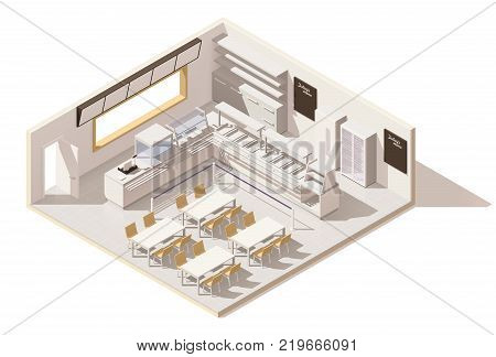 Vector isometric low poly self service restaurant. Includes buffet bain-marie, fridge, cashier desk, tables, chairs and other cafeteria equipment