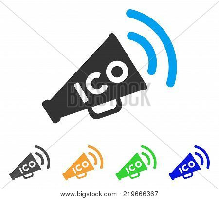 Ico News Megaphone icon. Vector illustration style is a flat iconic ico news megaphone symbol with gray, green, blue, yellow color versions. Designed for web and software interfaces.