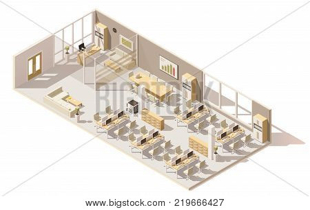 Vector isometric low poly office. Includes boss room, tables, computers, office chairs and other furniture