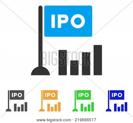 Ipo Bar Chart icon. Vector illustration style is a flat iconic ipo bar chart symbol with gray, green, blue, yellow color variants. Designed for web and software interfaces.