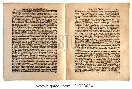 Kiev Ukraine - Dec. 26 2017: ILLUSTRATIVE EDITORIAL Image of internal pages of the German newspaper published in Nuremberg dated 1739