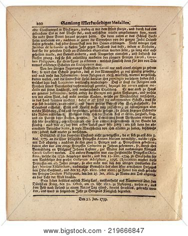 Kiev Ukraine - Dec. 26 2017: ILLUSTRATIVE EDITORIAL Image of rear page of the German newspaper published in Nuremberg dated 1739