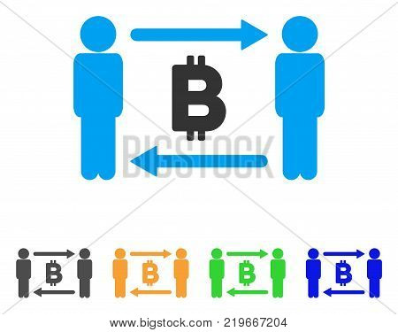 People Exchange Bitcoin icon. Vector illustration style is a flat iconic people exchange bitcoin symbol with gray, green, blue, yellow color variants. Designed for web and software interfaces.