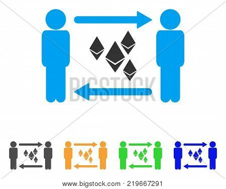 People Exchange Ethereum Crystals icon. Vector illustration style is a flat iconic people exchange ethereum crystals symbol with grey, green, blue, yellow color versions.