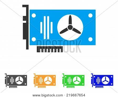Videocard icon. Vector illustration style is a flat iconic videocard symbol with gray, green, blue, yellow color variants. Designed for web and software interfaces.