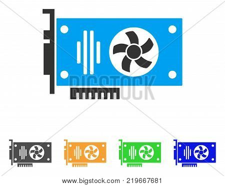 Videocard icon. Vector illustration style is a flat iconic videocard symbol with gray, green, blue, yellow color versions. Designed for web and software interfaces.
