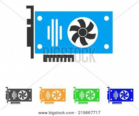 Videocard icon. Vector illustration style is a flat iconic videocard symbol with grey, green, blue, yellow color variants. Designed for web and software interfaces.