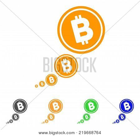 Bitcoin Inflation icon. Vector illustration style is a flat iconic bitcoin inflation symbol with grey, green, blue, yellow color variants. Designed for web and software interfaces.