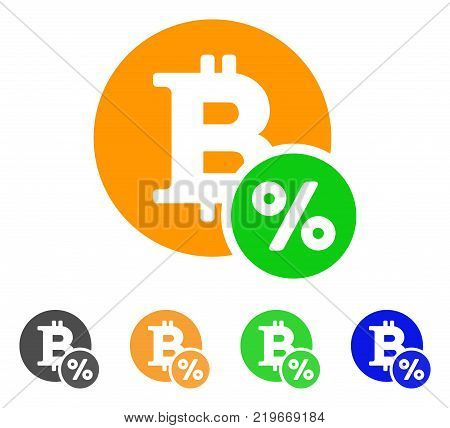 Bitcoin Percent icon. Vector illustration style is a flat iconic bitcoin percent symbol with grey, green, blue, yellow color versions. Designed for web and software interfaces.