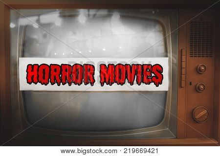 horror movies genre television label old tv text vintage retro background