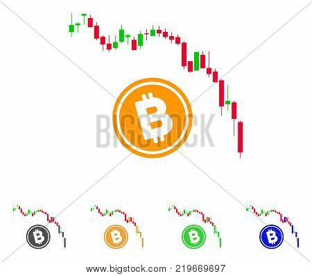 Candlestick Chart Bitcoin Fall icon. Vector illustration style is a flat iconic Candlestick chart bitcoin fall symbol with gray, green, blue, yellow color variants.