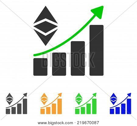 Classic Ethereum Growth Trend icon. Vector illustration style is a flat iconic classic ethereum growth trend symbol with gray, green, blue, yellow color variants.