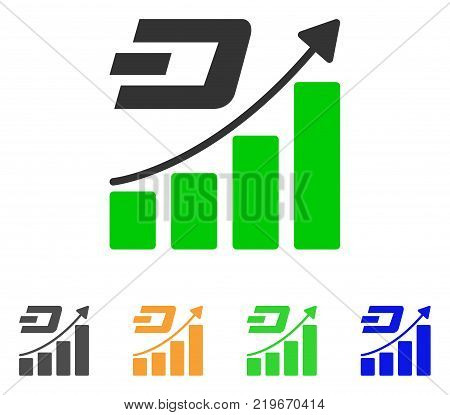 Dash Growth Trend icon. Vector illustration style is a flat iconic dash growth trend symbol with grey, green, blue, yellow color variants. Designed for web and software interfaces.