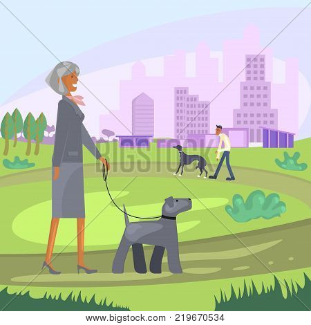 Dog and owner look alike. People with pets walking in City Park in Background. Vector illustration eps 10