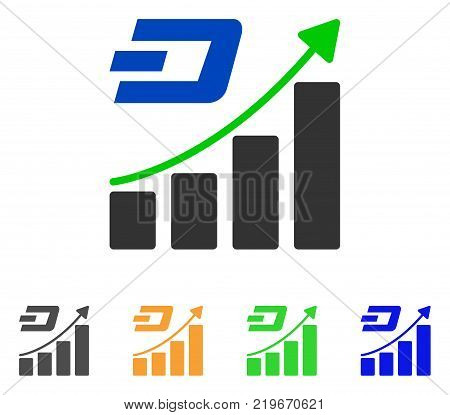 Dashcoin Growing Trend icon. Vector illustration style is a flat iconic dashcoin growing trend symbol with gray, green, blue, yellow color versions. Designed for web and software interfaces.