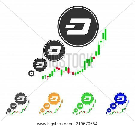 Dashcoin Inflation Chart icon. Vector illustration style is a flat iconic dashcoin inflation chart symbol with grey, green, blue, yellow color versions. Designed for web and software interfaces.