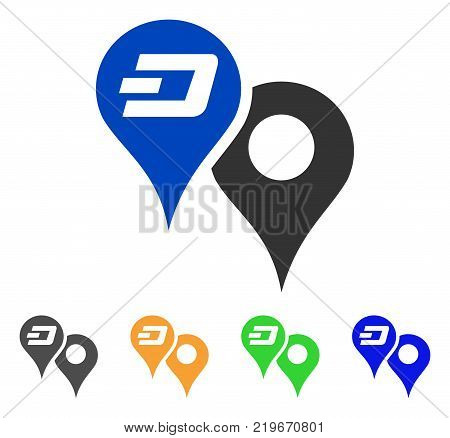 Dashcoin Map Pointers icon. Vector illustration style is a flat iconic dashcoin map pointers symbol with grey, green, blue, yellow color variants. Designed for web and software interfaces.
