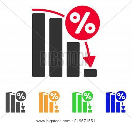 Falling Percent Bar Chart icon. Vector illustration style is a flat iconic falling percent bar chart symbol with grey, green, blue, yellow color variants. Designed for web and software interfaces.