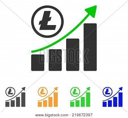 Litecoin Growing Graph Trend icon. Vector illustration style is a flat iconic litecoin growing graph trend symbol with gray, green, blue, yellow color variants.