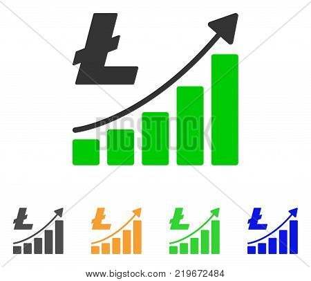 Litecoin Growth Trend icon. Vector illustration style is a flat iconic litecoin growth trend symbol with grey, green, blue, yellow color variants. Designed for web and software interfaces.