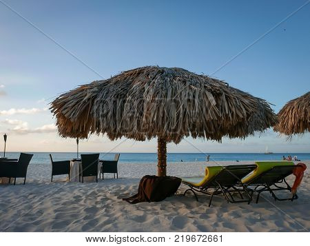 Travel photography - an outdoor restaurant in Aruba beach (Dutch Antilles).