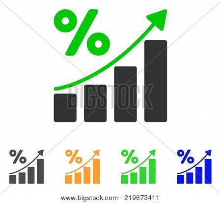 Percent Growing Graph Trend icon. Vector illustration style is a flat iconic percent growing graph trend symbol with grey, green, blue, yellow color versions. Designed for web and software interfaces.