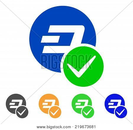 Valid Dashcoin icon. Vector illustration style is a flat iconic valid dashcoin symbol with gray, green, blue, yellow color variants. Designed for web and software interfaces.