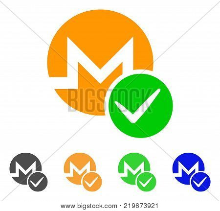 Valid Monero icon. Vector illustration style is a flat iconic valid monero symbol with gray, green, blue, yellow color variants. Designed for web and software interfaces.