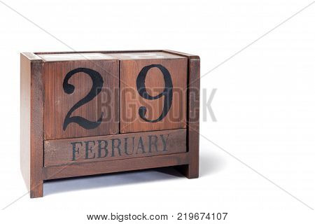 Wooden Perpetual Calendar set to February 29th Leap Year