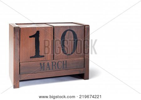 Wooden Perpetual Calendar set to March 10th