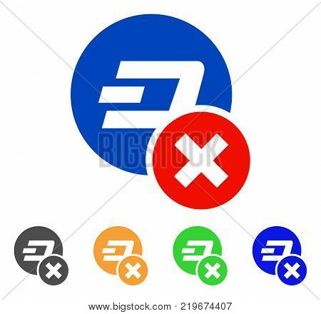 Wrong Dashcoin icon. Vector illustration style is a flat iconic wrong dashcoin symbol with gray, green, blue, yellow color versions. Designed for web and software interfaces.
