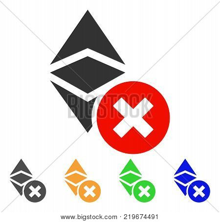 Wrong Ethereum Classic icon. Vector illustration style is a flat iconic wrong ethereum classic symbol with gray, green, blue, yellow color variants. Designed for web and software interfaces.