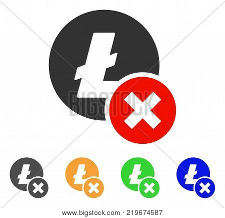 Wrong Litecoin icon. Vector illustration style is a flat iconic wrong litecoin symbol with gray, green, blue, yellow color versions. Designed for web and software interfaces.