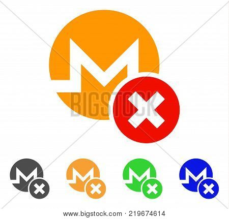 Wrong Monero icon. Vector illustration style is a flat iconic wrong monero symbol with grey, green, blue, yellow color versions. Designed for web and software interfaces.