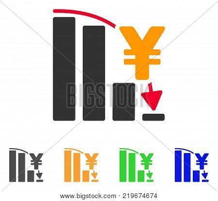 Yen Epic Fail Chart icon. Vector illustration style is a flat iconic yen epic fail chart symbol with grey, green, blue, yellow color variants. Designed for web and software interfaces.