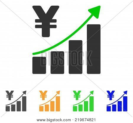 Yen Growth Trend icon. Vector illustration style is a flat iconic yen growth trend symbol with grey, green, blue, yellow color versions. Designed for web and software interfaces.