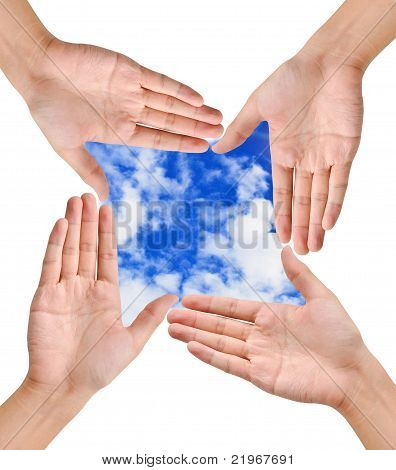 Hand Forming Frame Shape On Blue Sky