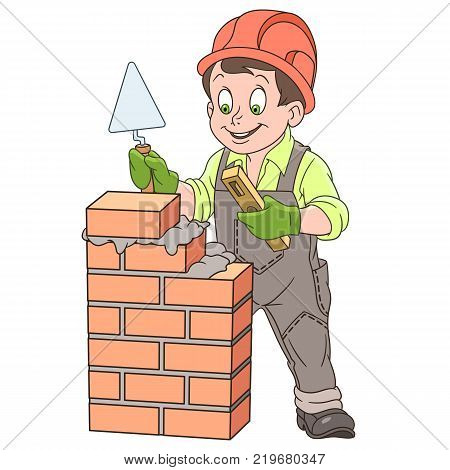 Kids in Professions. Cartoon builder with trowel and level tool working around a brick wall. Design for children's coloring book.