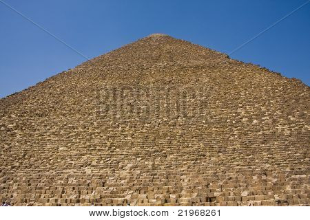 A closeup of the great Pyramid of Khufu  in Giza, Egypt