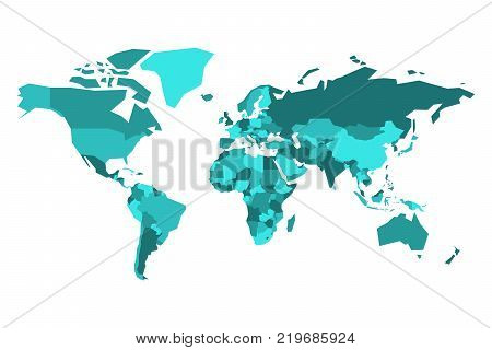 Political map of World. Simplified vector map in four shades of tuquoise blue.