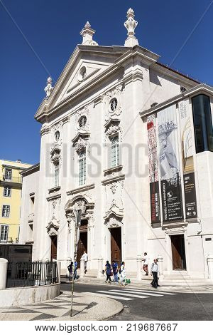 LISBON - September 25, 2017: Museum of Money is located in the former 18th century Church of Sao Juliao next to the Municipal Square in Lisbon Portugal