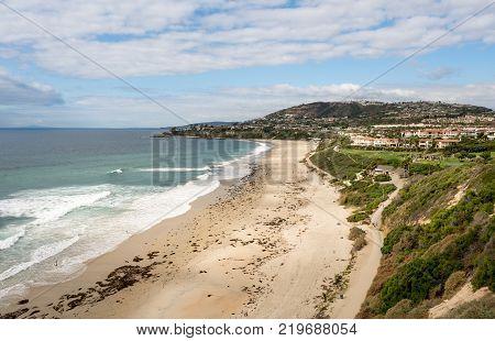 View of the sandy Salt Creek beach near Dana Point in California