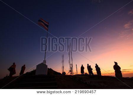 KANCHANABURI THAILAND - DEC202014 : tourist standing on top of mountain in