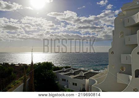 Tenerife, Canary Islands, Spain - December 7, 2017: Beautiful View From Santa Barbara Ocean Club Res