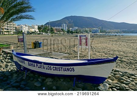 Tenerife, Canary Islands, Spain - December 7, 2017: Beautiful Beach Los Cristianos In Tenerife, Cana