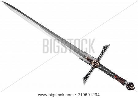 Sword disposed by diagonal isolated on white background.